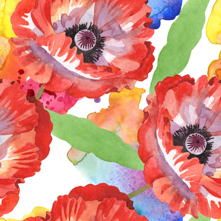 Red poppy botanical flowers. Wild spring leaf wildflower. Watercolor illustration set. Watercolour drawing fashion aquarelle isolated. Seamless background pattern. Fabric wallpaper print texture. Zdjęcie Seryjne