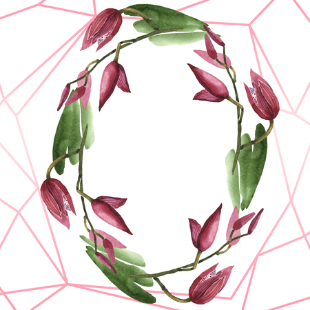 Marsala orchid floral botanical flowers. Wild spring leaf wildflower isolated. Watercolor background illustration set. Watercolour drawing fashion aquarelle. Frame border ornament square. 版權商用圖片