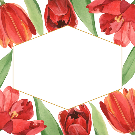 Red tulip floral botanical flowers. Wild spring leaf wildflower isolated. Watercolor background illustration set. Watercolour drawing fashion aquarelle isolated. Frame border ornament square.