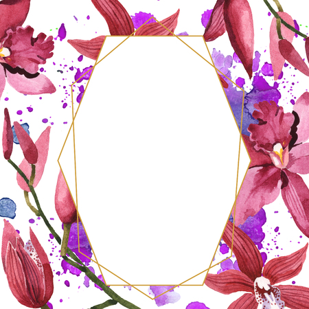 Marsala orchid floral botanical flowers. Wild spring leaf wildflower isolated. Watercolor background illustration set. Watercolour drawing fashion aquarelle. Frame border ornament square. Stock Photo