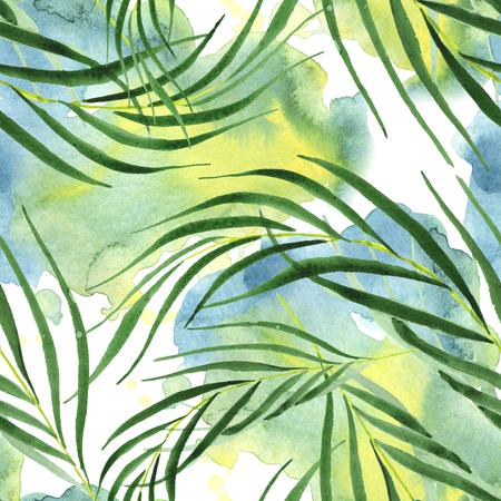 Palm beach tree leaves jungle botanical. Watercolor illustration set. Watercolour drawing fashion aquarelle. Seamless background pattern. Fabric wallpaper print texture. 스톡 콘텐츠