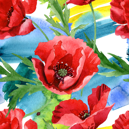 Red poppy floral botanical flowers. Wild spring leaf wildflower. Watercolor illustration set. Watercolour drawing fashion aquarelle. Seamless background pattern. Fabric wallpaper print texture. Zdjęcie Seryjne