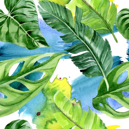 Exotic tropical hawaiian summer. Palm beach tree leaves jungle botanical. Watercolor illustration set. Watercolour drawing aquarelle. Seamless background pattern. Fabric wallpaper print texture. Reklamní fotografie - 123100028
