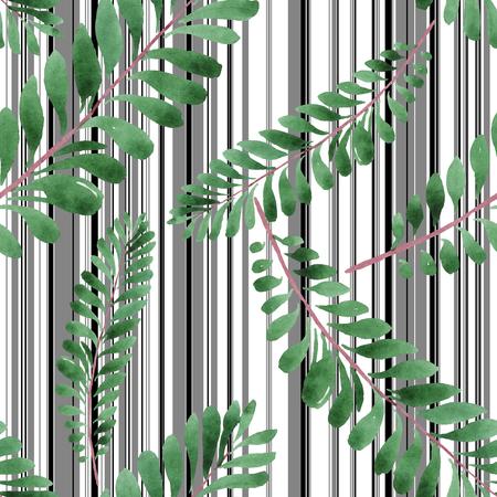Palm beach tree leaves jungle botanical. Watercolor illustration set. Watercolour drawing fashion aquarelle. Seamless background pattern. Fabric wallpaper print texture. Reklamní fotografie