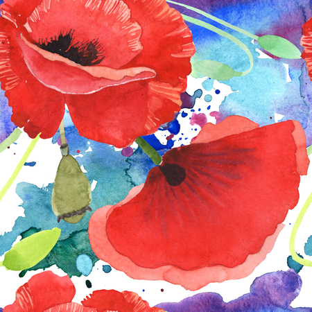 Red poppy botanical flowers. Wild spring leaf wildflower. Watercolor illustration set. Watercolour drawing fashion aquarelle isolated. Seamless background pattern. Fabric wallpaper print texture. Stok Fotoğraf