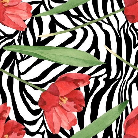 Red tulip floral botanical flowers. Wild spring leaf wildflower. Watercolor illustration set. Watercolour drawing fashion aquarelle. Seamless background pattern. Fabric wallpaper print texture. Stok Fotoğraf