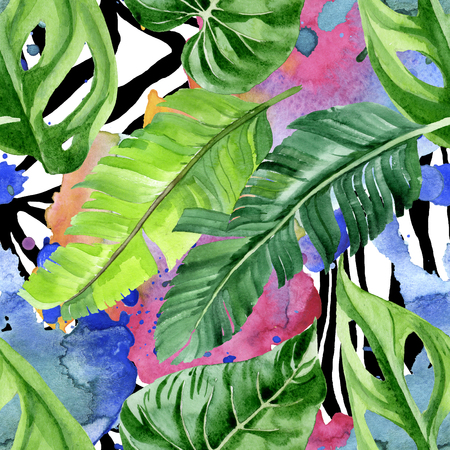 Exotic tropical hawaiian summer. Palm beach tree leaves jungle botanical. Watercolor illustration set. Watercolour drawing aquarelle. Seamless background pattern. Fabric wallpaper print texture.