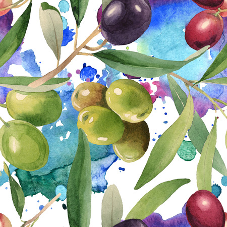 Fresh olives healthy food. Watercolor background illustration set. Watercolour drawing fashion aquarelle isolated. Seamless background pattern. Fabric wallpaper print texture.