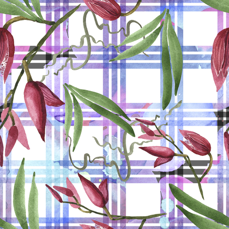 Marsala orchid botanical flowers. Wild spring leaf wildflower isolated. Watercolor illustration set. Watercolour drawing fashion aquarelle. Seamless background pattern. Fabric wallpaper print texture. 版權商用圖片