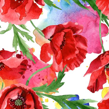 Flores botánicas florales de amapola roja. Flores silvestres de hoja de primavera salvaje. Conjunto de ilustración acuarela. Dibujo de acuarela aquarelle de moda. Patrón de fondo transparente. Textura de impresión de papel tapiz de tela.