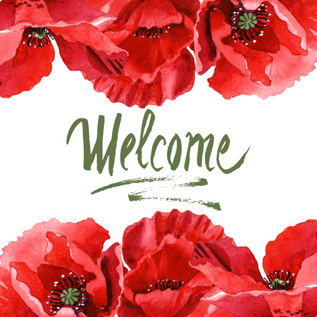 Red poppy floral botanical flowers. Wild spring leaf wildflower isolated. Watercolor background illustration set. Watercolour drawing fashion aquarelle isolated. Frame border ornament square.