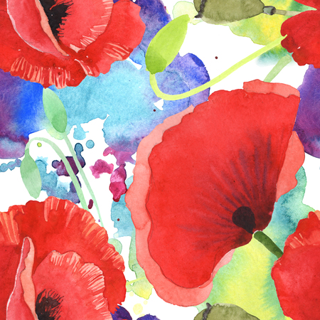 Red poppy botanical flowers. Wild spring leaf wildflower. Watercolor illustration set. Watercolour drawing fashion aquarelle isolated. Seamless background pattern. Fabric wallpaper print texture. Stock fotó