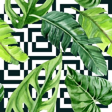 Exotischer tropischer hawaiianischer Sommer. Palm Beach Tree verlässt Dschungel botanisch. Aquarellillustrationssatz. Aquarellzeichnung Aquarell. Nahtloses Hintergrundmuster. Stofftapete Drucktextur. Standard-Bild