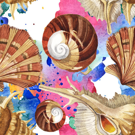 Summer beach seashell tropical elements. Watercolor background illustration set. Watercolour drawing fashion aquarelle isolated. Seamless background pattern. Fabric wallpaper print texture.