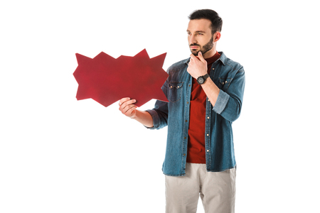 Pensive handsome man in denim shirt holding thought bubble isolated on white background