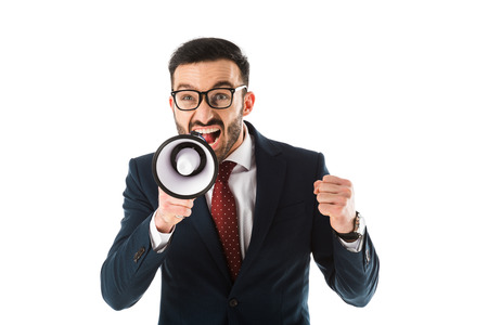 Irritated businessman with megaphone showing fist isolated on white background