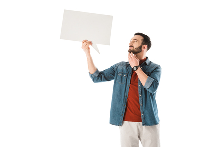 Thoughtful bearded man holding speech bubble isolated on white background