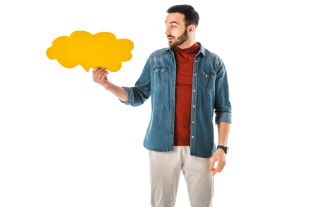Thoughtful bearded man in denim shirt holding thought bubble isolated on white background