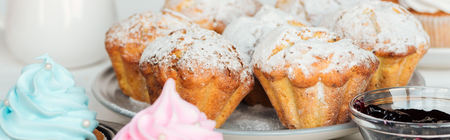 Panoramic shot of muffins decorated with powdered sugar on plate Stockfoto