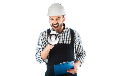 Irritated foreman screaming in megaphone while holding clipboard and looking at camera isolated on white background