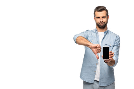 man showing smartphone with blank screen and thumb up sign Isolated On White Foto de archivo - 123585727