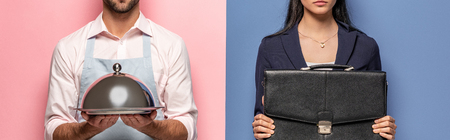 panoramic shot of man in apron with Serving Tray and businesswoman with briefcase on blue and pink