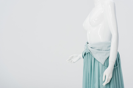 mannequin in dress isolated on grey with copy space