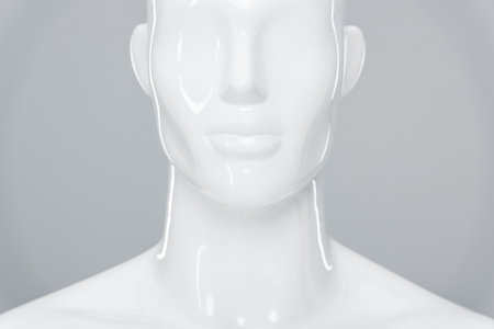 white plastic mannequin figure isolated on grey Stock Photo - 123667391