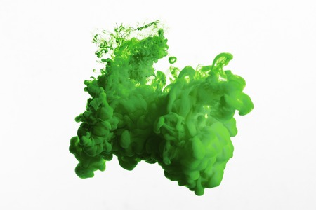 Close up view of green paint splash isolated on white Banque d'images - 123639430