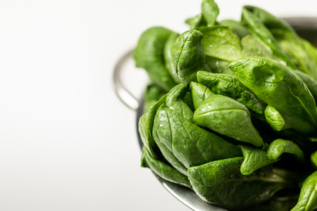 selective focus of green and fresh spinach leaves in colander on white