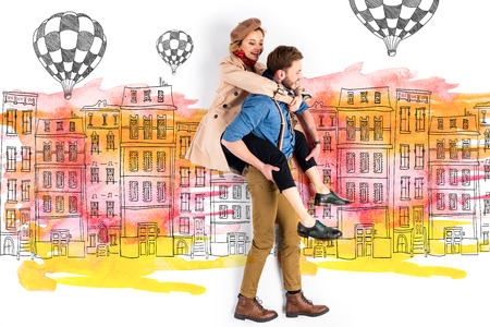 Boyfriend giving piggyback ride to elegant girlfriend with buildings and air balloons illustration on background Stok Fotoğraf