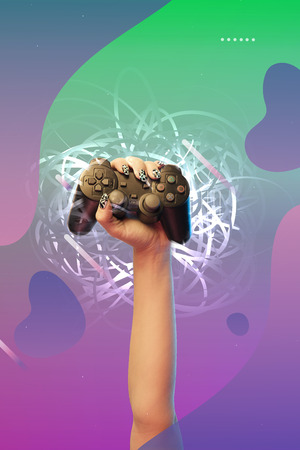 Cropped view of woman holding joystick in hand on purple and green gradient background with abstract illustration