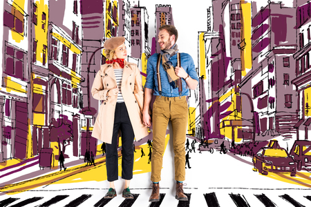 Elegant couple holding hands with city street illustration on background Standard-Bild - 124381796