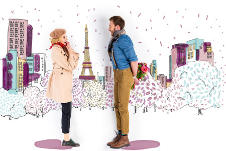 Surprised woman looking at man with bouquet of flowers behind back on Paris illustration on background