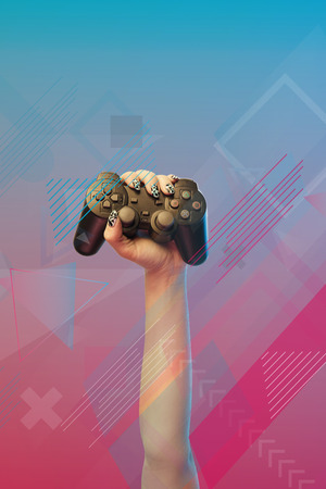 Cropped view of woman holding joystick in hand on pink and blue gradient background with abstract illustration