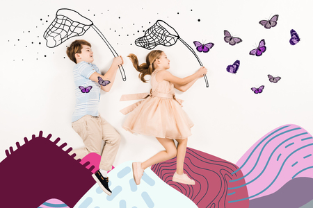 Top view of cheerful kids with butterfly nets near butterflies and mountains on white background