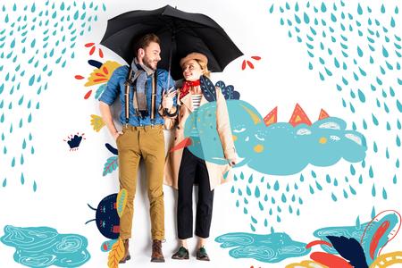Happy elegant couple standing together under umbrella with rain and cloud illustration Standard-Bild - 124382360