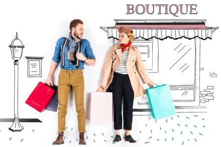 Elegant couple holding shopping bags with boutique illustration on background Standard-Bild - 124465468