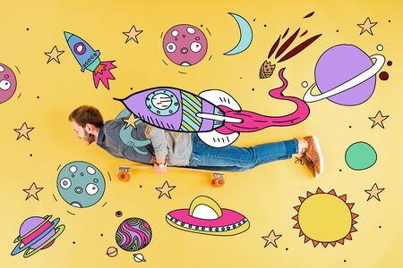 Top view of man with longboard lying on yellow background with space illustration Stock Photo