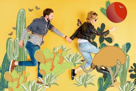 Top view of woman holding hands with boyfriend while lying on yellow background with cacti and ostrich illustration