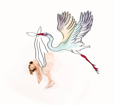Top view of stork carrying cheerful kid in pink dress isolated on a white background