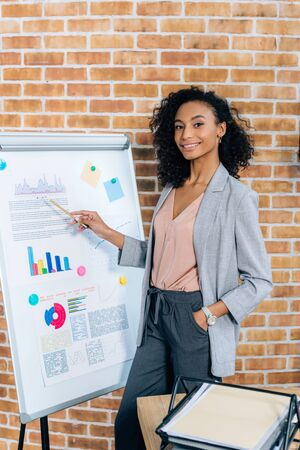 African American Casual businesswoman pointing at flipchart during Presentation in loft office