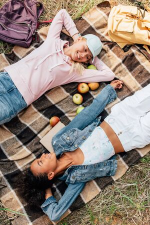 top view of two smiling multiethnic girls lying on plaid blanket with apples Banco de Imagens