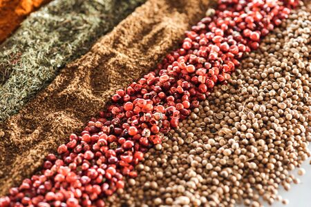 close up view of traditional aromatic indian spices in rows