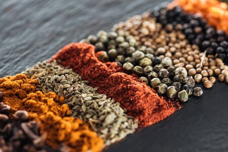 close up view of traditional colorful and aromatic indian spices