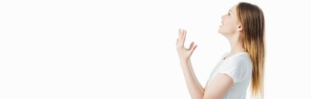 side view of irritated teenage girl gesturing isolated on white, panoramic shot