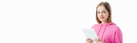 panoramic shot of happy teenage girl holding digital tablet isolated on white Stock Photo