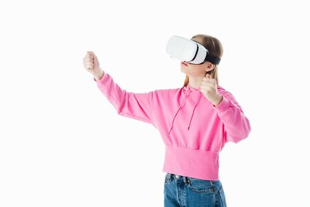 teenage girl in pink hoodie with vr headset gesturing isolated on white