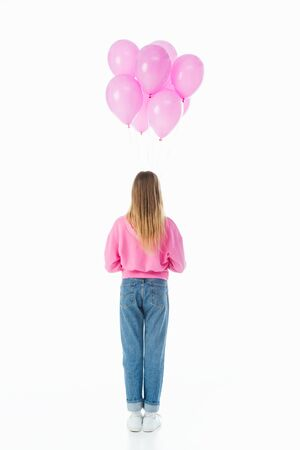 back view of teenage girl with pink balloons isolated on white