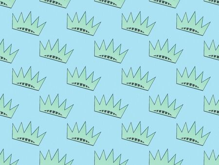 seamless background pattern with turquoise crowns on light blue, Independence Day concept Stock Photo